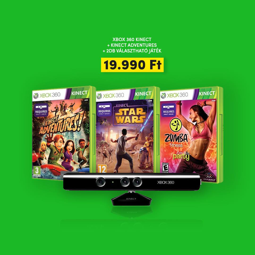 Xbox 360 Kinect mozgásérzékelő szenzor csomag 3 játékkal