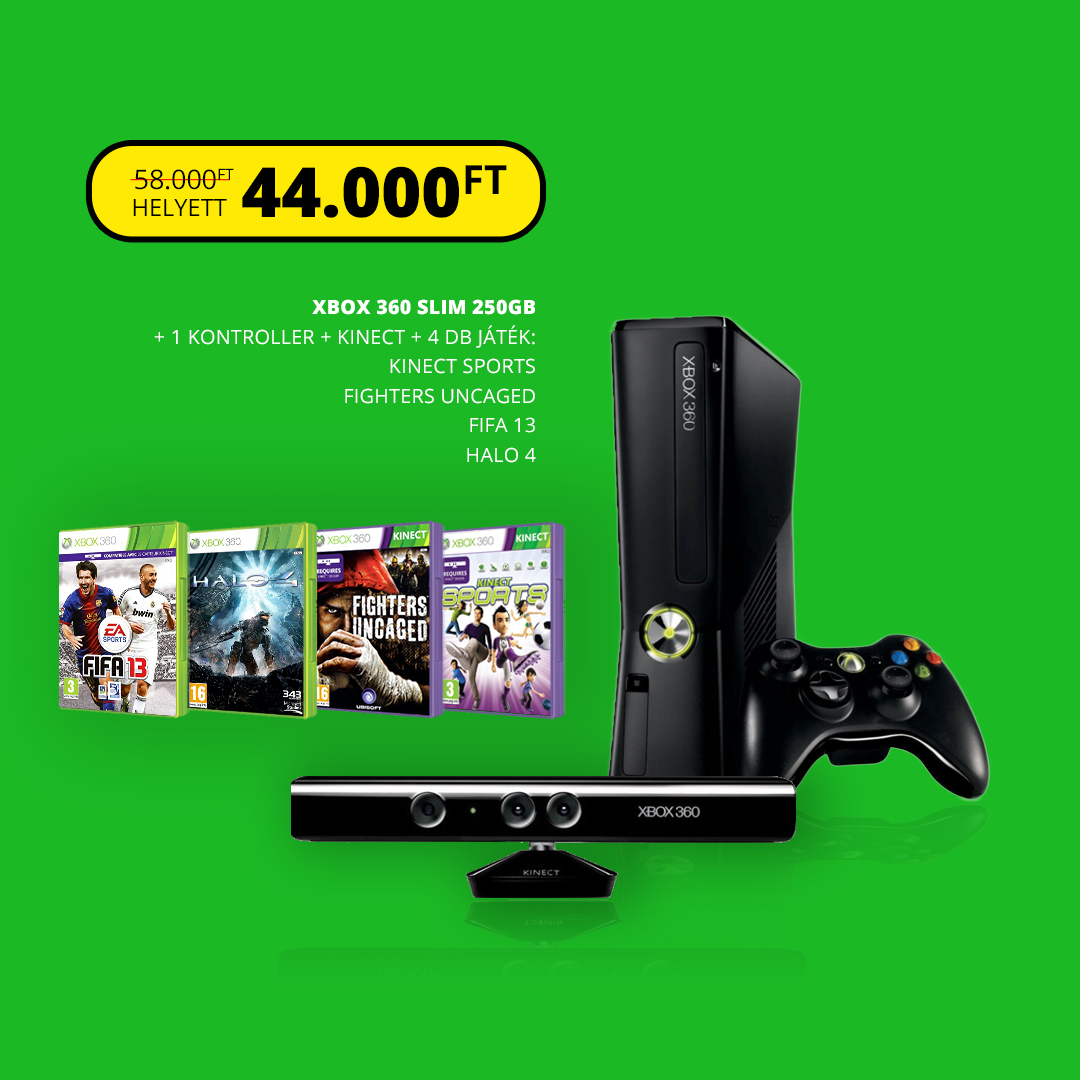 Xbox 360 slim 250gb + Kinect Csomag ( Kinect + 5 játék )